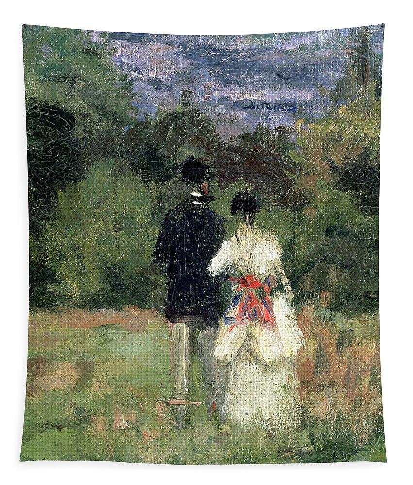 Landscape Tapestry featuring the painting Louveciennes, Detail Of Lovers by Camille Pissarro