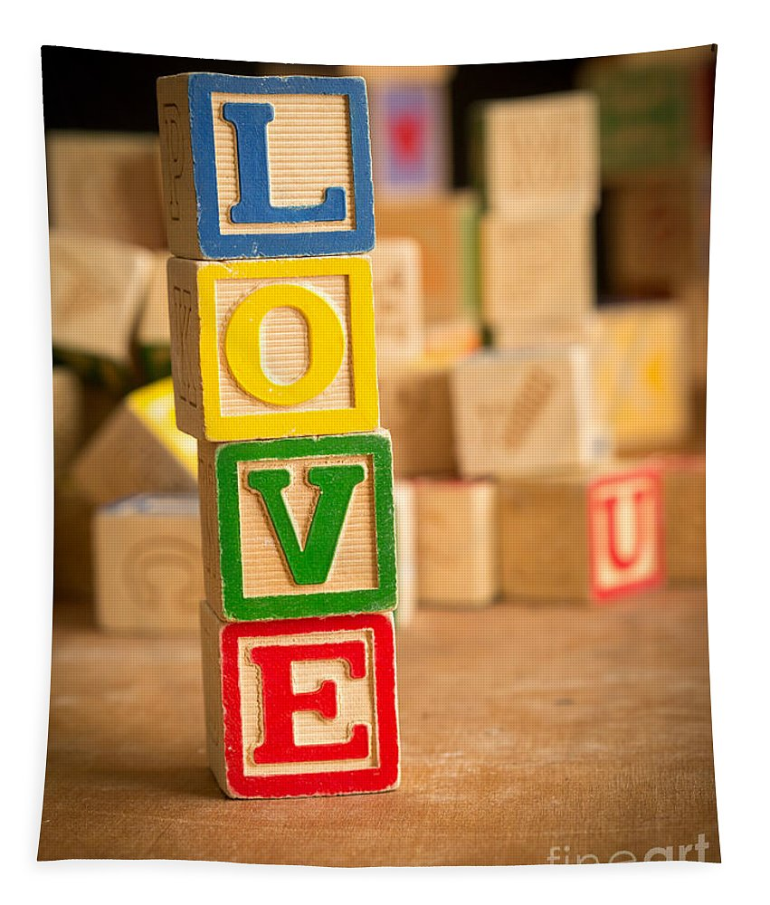 Abs Tapestry featuring the photograph Love - Alphabet Blocks by Edward Fielding