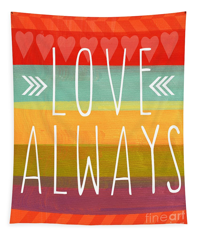 Love Tapestry featuring the mixed media Love Always by Linda Woods
