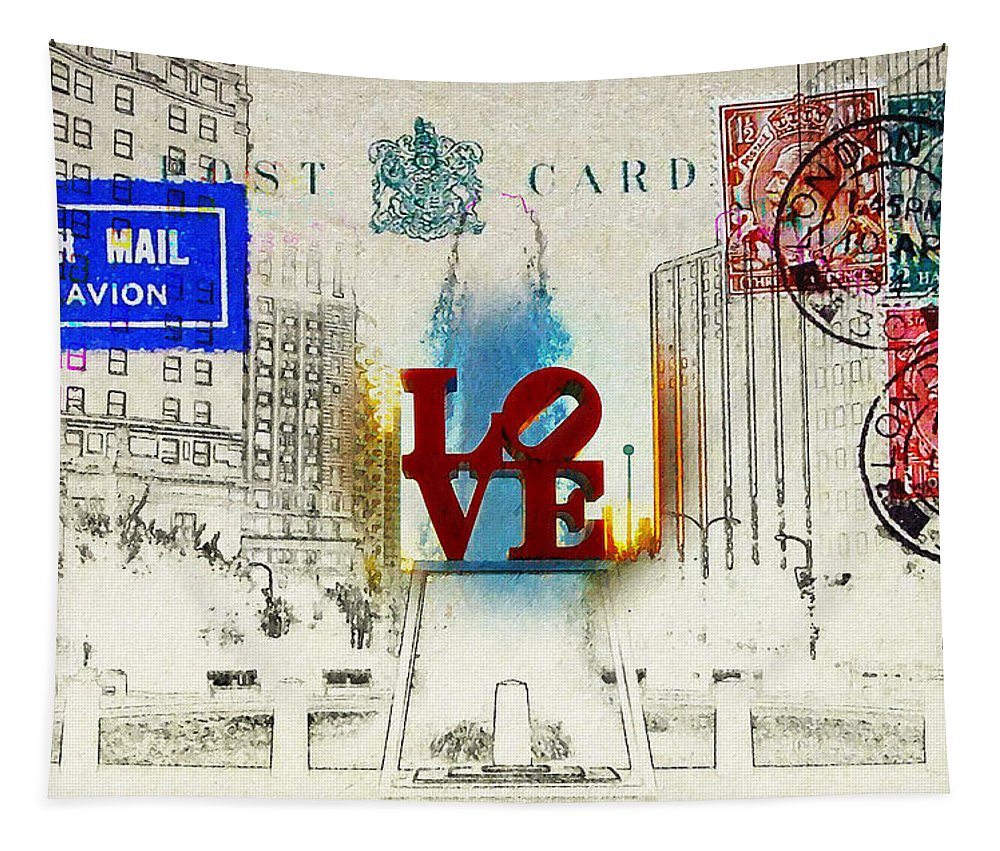 Love Park Tapestry featuring the photograph Love Park Post Card by Bill Cannon
