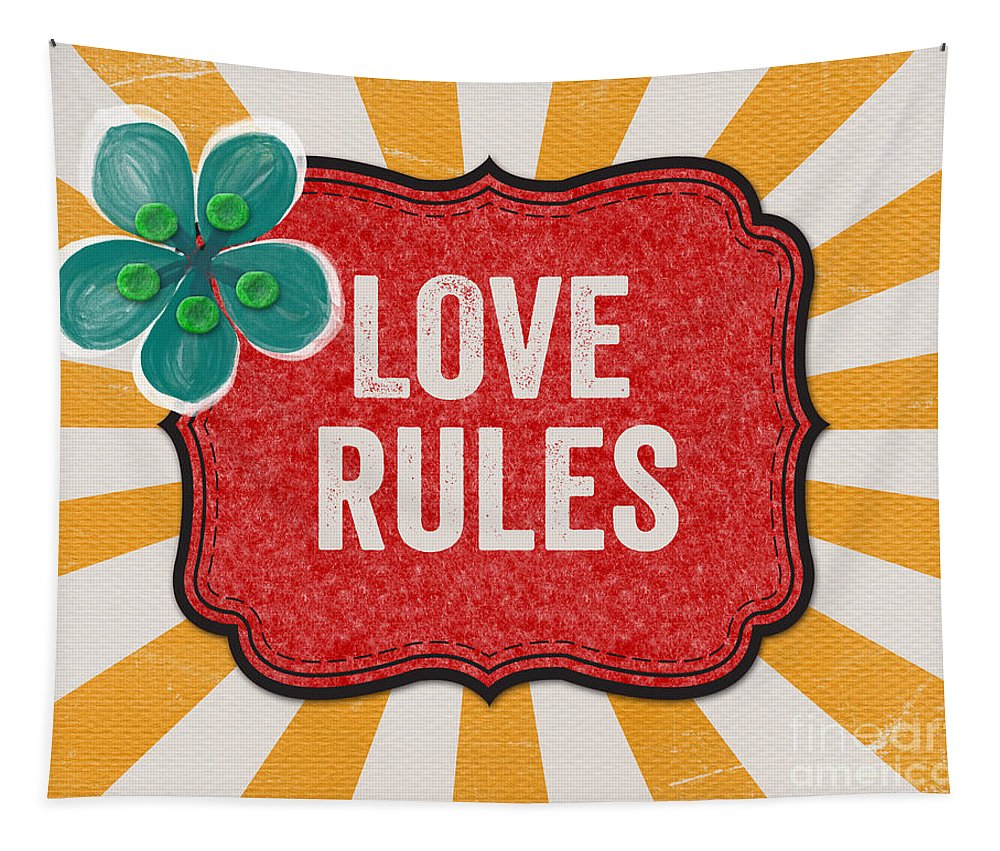 Love Tapestry featuring the mixed media Love Rules by Linda Woods