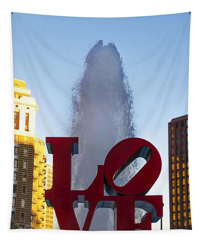 Love Tapestry featuring the photograph Love Statue In Philadelphia Pa by Bill Cannon