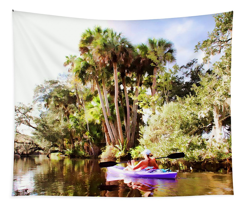 Kayaker Kayaking Florida Old Water Way Tapestry featuring the photograph Lovely Kayaker by Alice Gipson