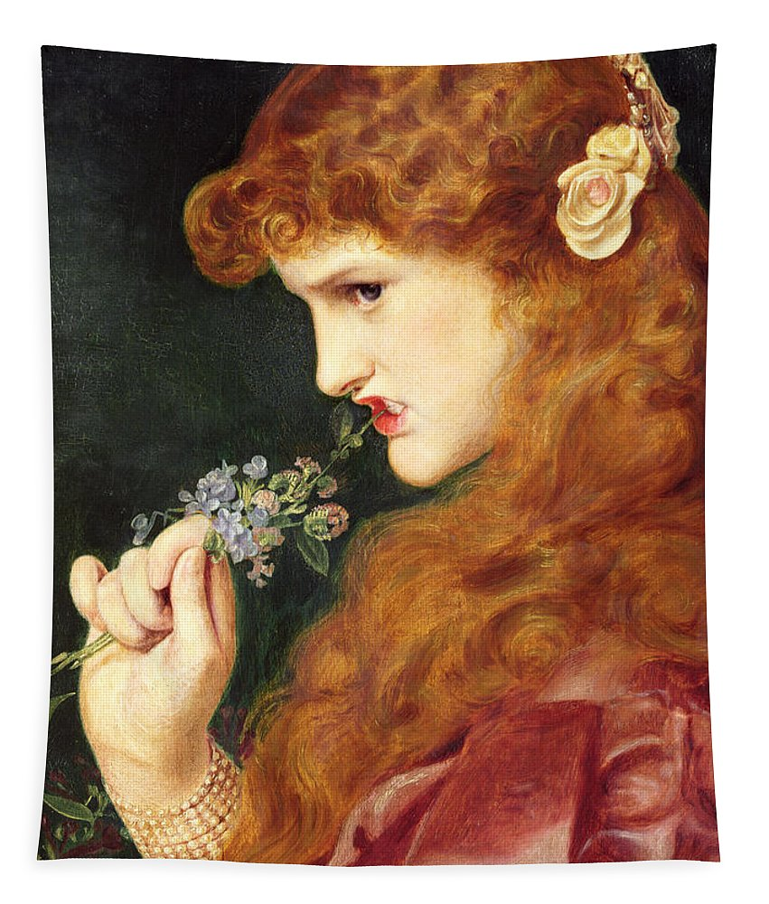 Female Tapestry featuring the painting Loves Shadow, 1867 by Anthony Frederick Augustus Sandys