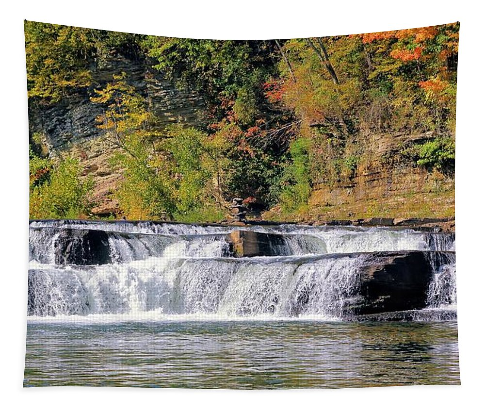 High Falls Tapestry featuring the photograph Lower Falls by Robert McCulloch
