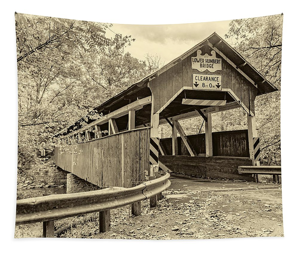 Pennsylvania Tapestry featuring the photograph Lower Humbert Covered Bridge Sepia by Steve Harrington