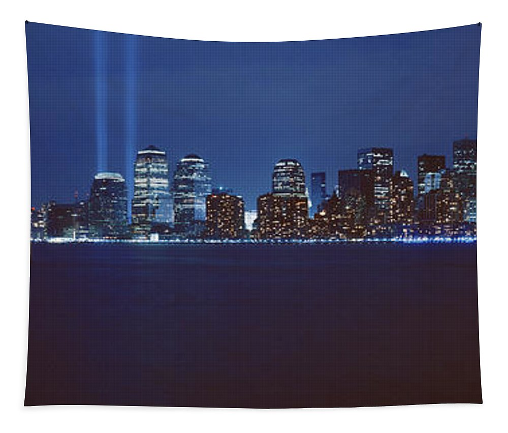 Photography Tapestry featuring the photograph Lower Manhattan, Beams Of Light, Nyc by Panoramic Images