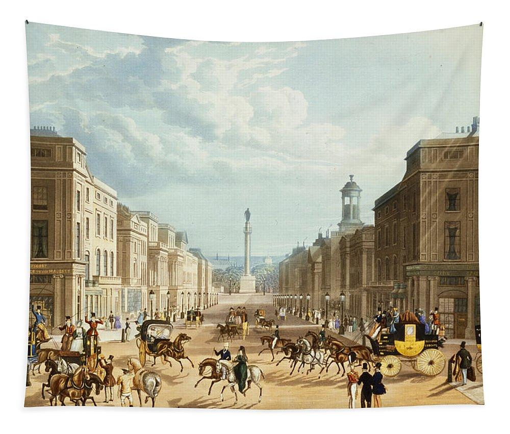 Print Tapestry featuring the drawing Lower Regent Street, Pub. By Ackermann by Thomas Hosmer Shepherd