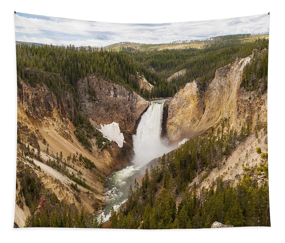 Lower Yellowstone Falls Waterfall Landscape Yellowstone National Park Wyoming Tapestry featuring the photograph Lower Yellowstone Canyon Falls by Brian Harig