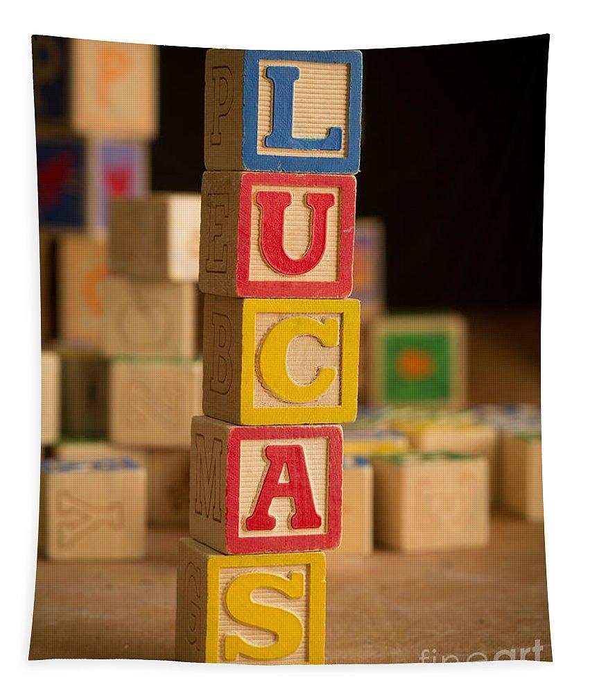 Alphabet Tapestry featuring the photograph Lucas - Alphabet Blocks by Edward Fielding