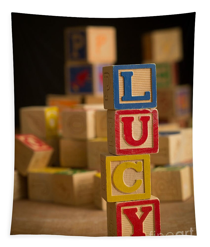 Alphabet Tapestry featuring the photograph Lucy - Alphabet Blocks by Edward Fielding
