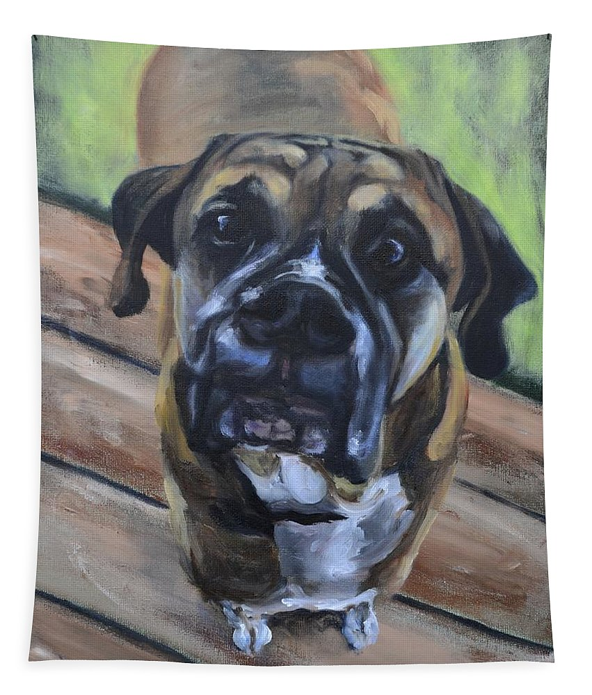 Boxer Tapestry featuring the painting Lugnut by Donna Tuten