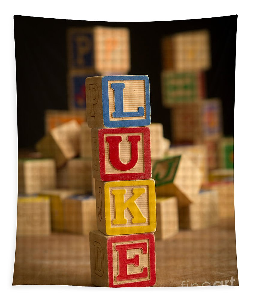 Alphabet Tapestry featuring the photograph Luke - Alphabet Blocks by Edward Fielding
