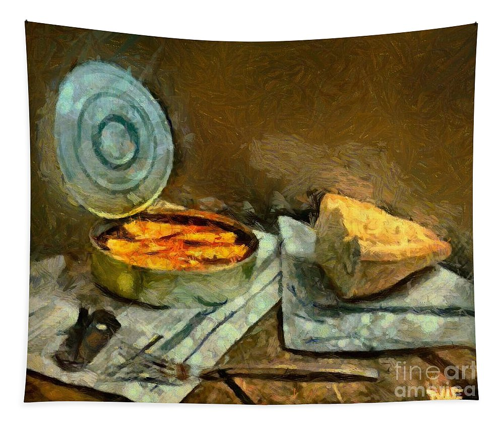Still Life Tapestry featuring the painting Lunch In Times Of Crisis by Dragica Micki Fortuna