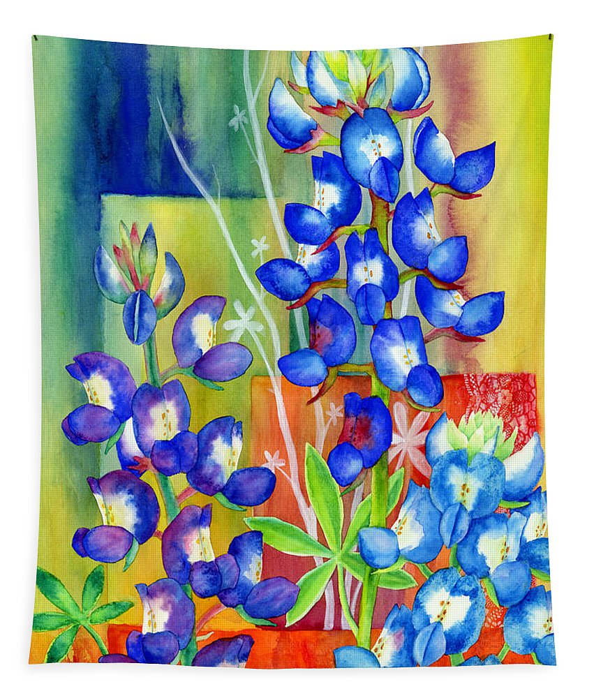 Wild Flower Tapestry featuring the painting Lupinus Texensis by Hailey E Herrera