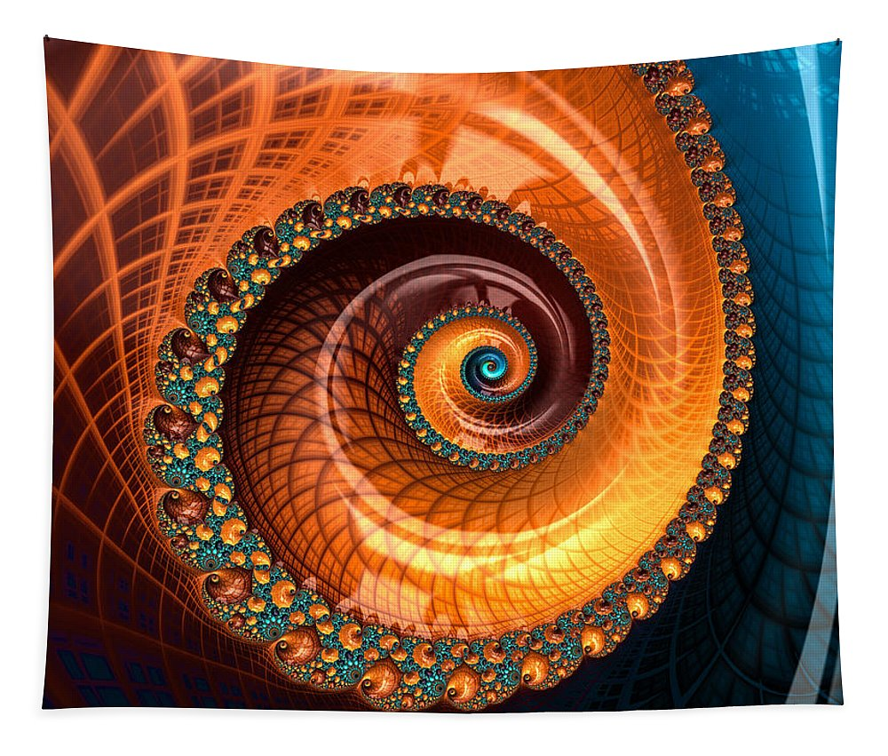 Spiral Tapestry featuring the digital art Luxe Fractal Spiral Brown And Blue by Matthias Hauser