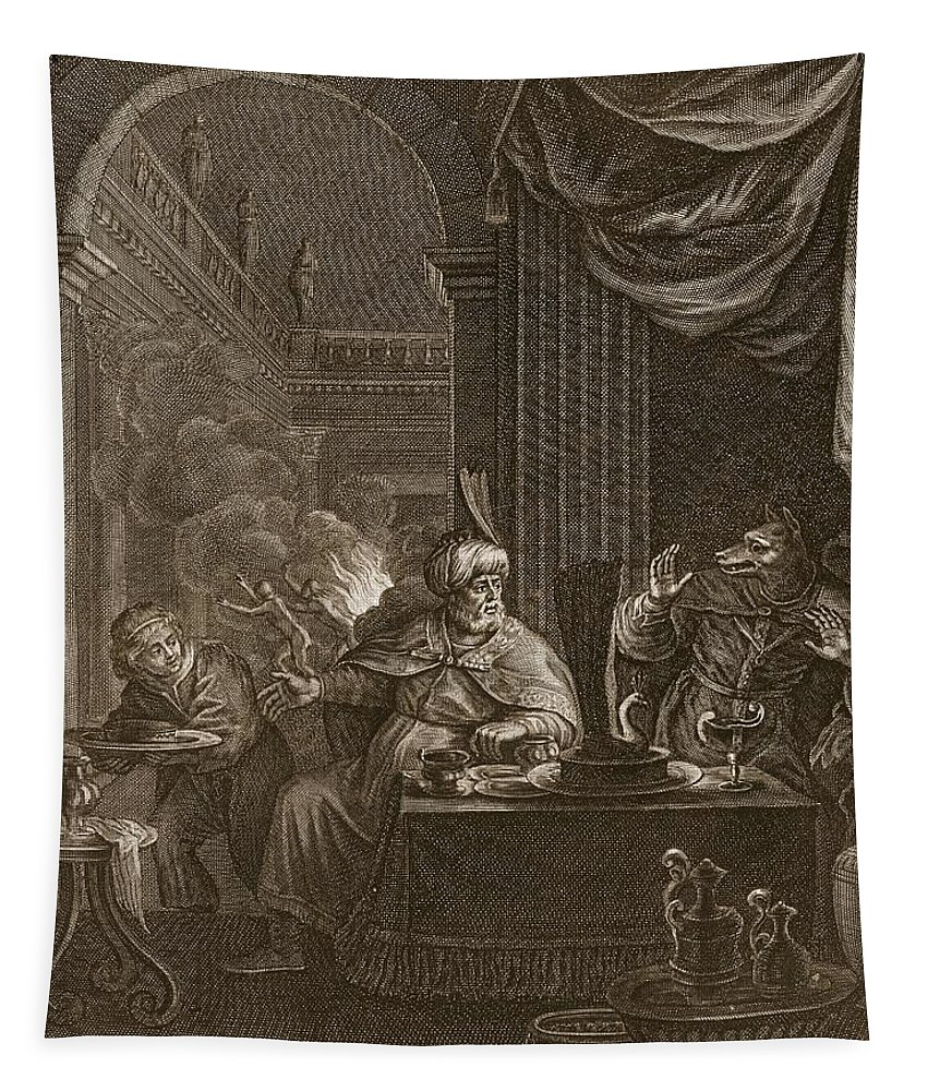 Ovid Tapestry featuring the drawing Lycaon Metamorphosed Into A Wolf, 1731 by Bernard Picart