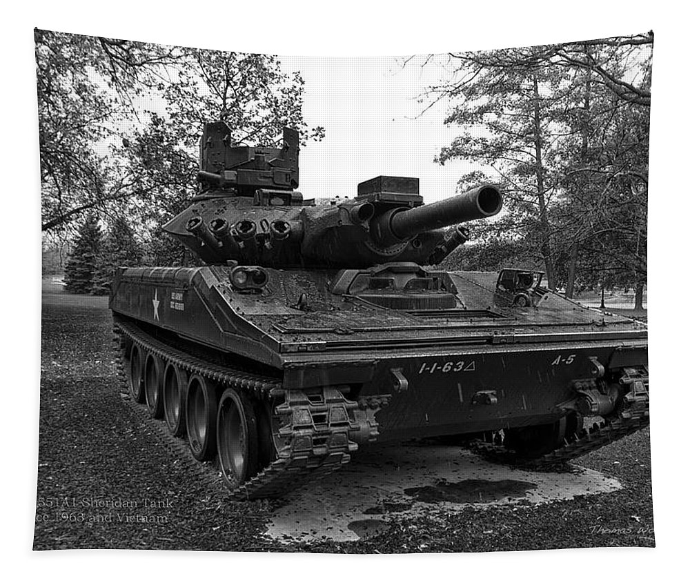 Vietnam Tapestry featuring the photograph M551a1 Sheridan Tank by Thomas Woolworth