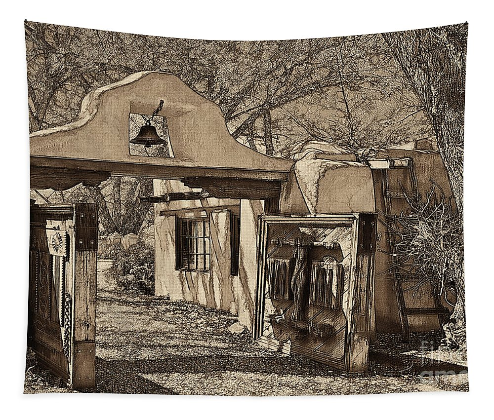 Santa Tapestry featuring the mixed media Mabel's Gate - A Different View by Charles Muhle