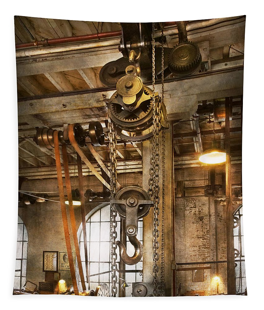 Self Tapestry featuring the photograph Machinist - In The Age Of Industry by Mike Savad