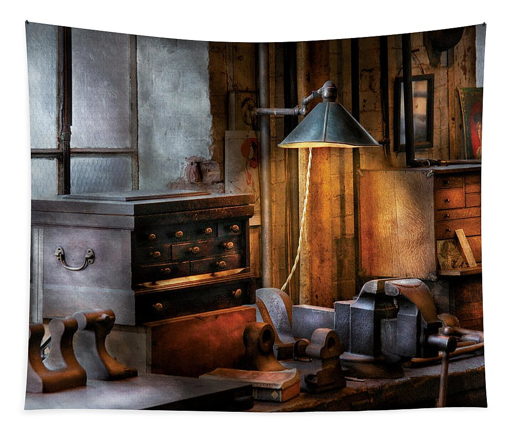 Savad Tapestry featuring the photograph Machinist - My Workstation by Mike Savad