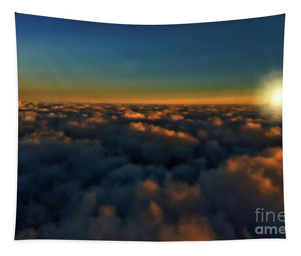 Sunset Tapestry featuring the photograph Madison Wi Sunset At 30000 by Tommy Anderson