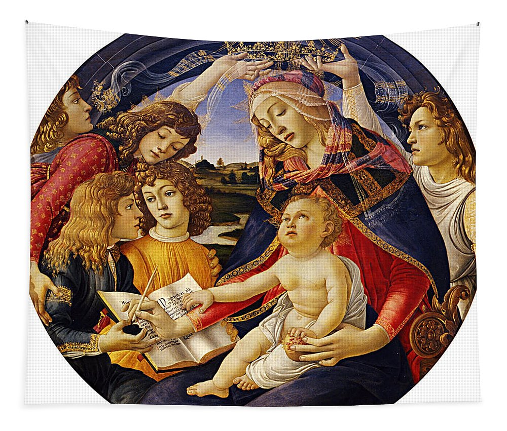 Madonna Of The Magnificat Tapestry featuring the painting Madonna Of The Magnificat by Sandro Botticelli