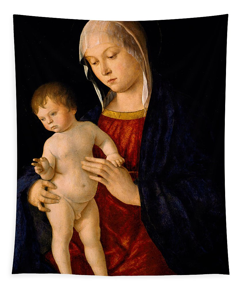 Madonna And Child Tapestry featuring the painting Madonna With The Child Blessing by Giovanni Bellini