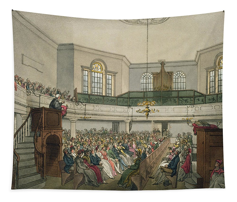 Interior Tapestry featuring the drawing Magdalen Chapel by Pugin And Rowlandson
