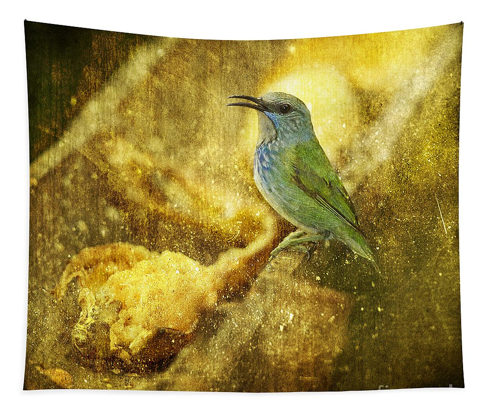 Shining Honeycreeper Tapestry featuring the photograph Magic At The Feeder... by Nina Stavlund
