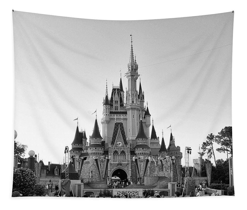 Castle Tapestry featuring the photograph Magic Kingdom Castle In Black And White by Thomas Woolworth