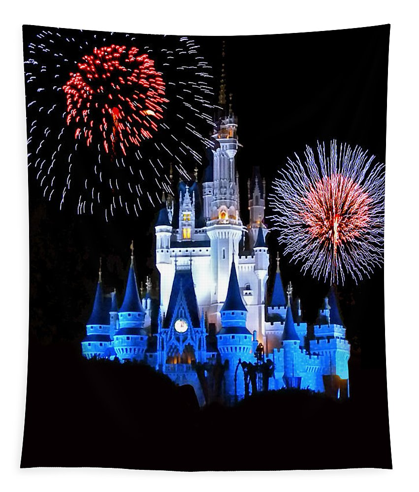 Castle Tapestry featuring the photograph Magic Kingdom Castle In Blue With Fireworks by Thomas Woolworth