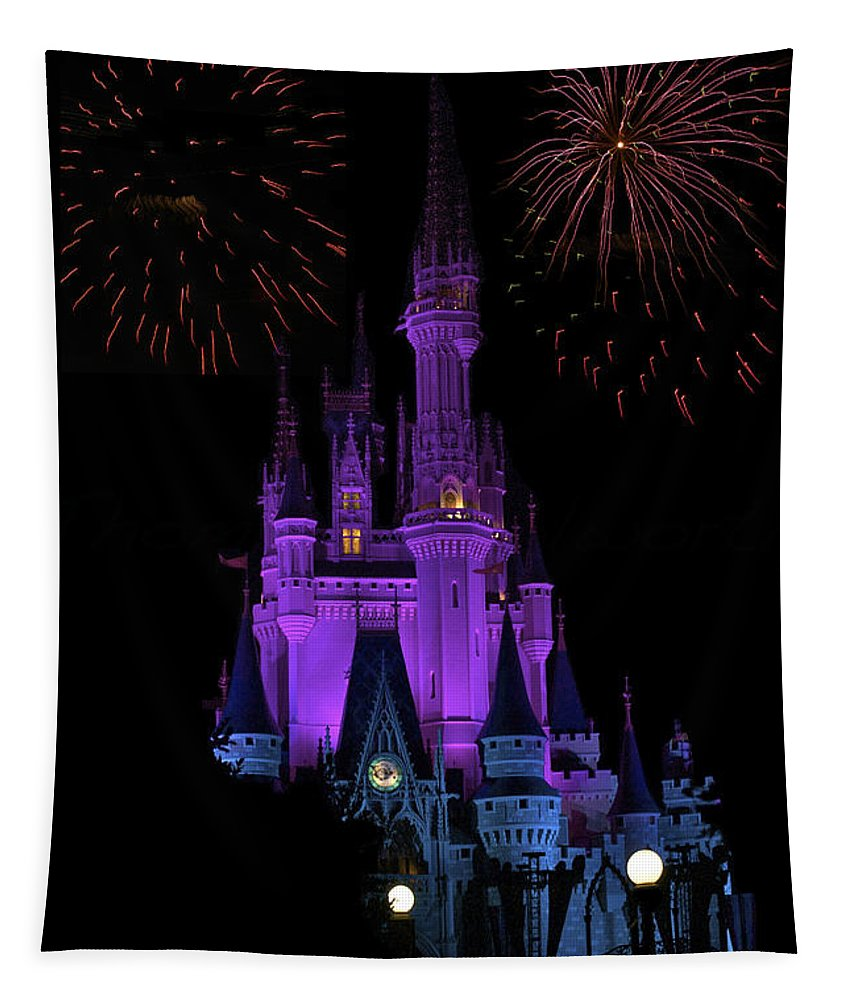 Castle Tapestry featuring the photograph Magic Kingdom Castle In Purple With Fireworks 01 by Thomas Woolworth