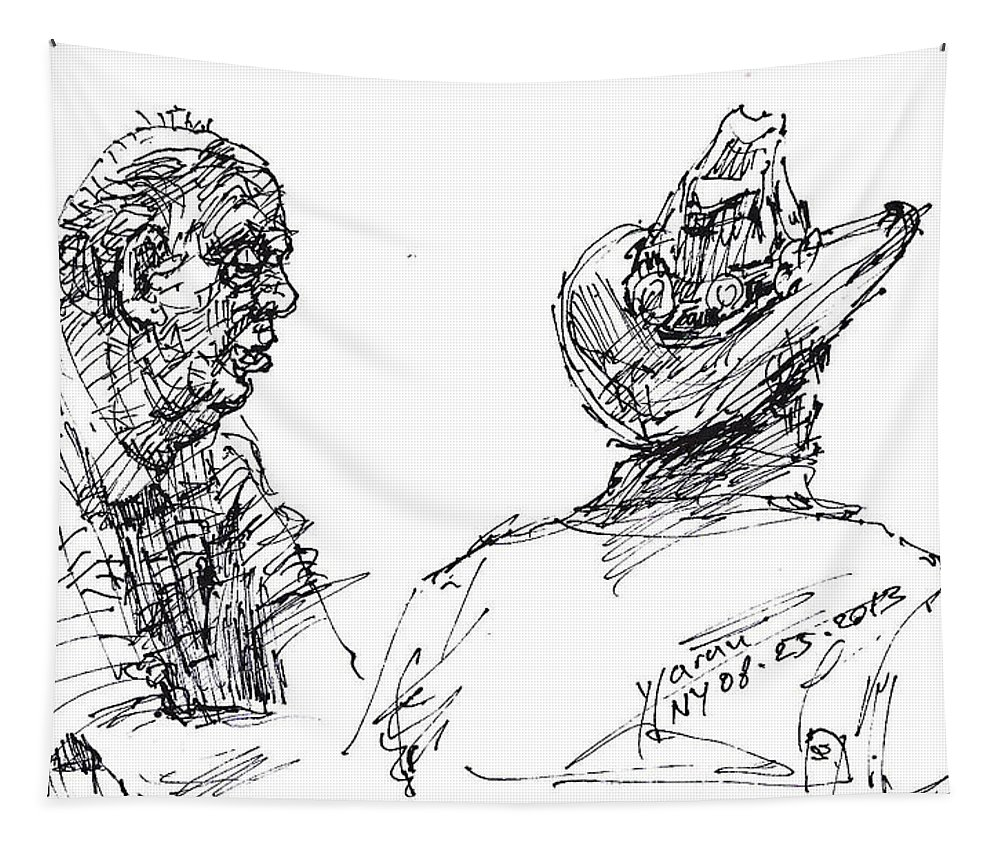 Men Tapestry featuring the drawing Magician And His Friend by Ylli Haruni