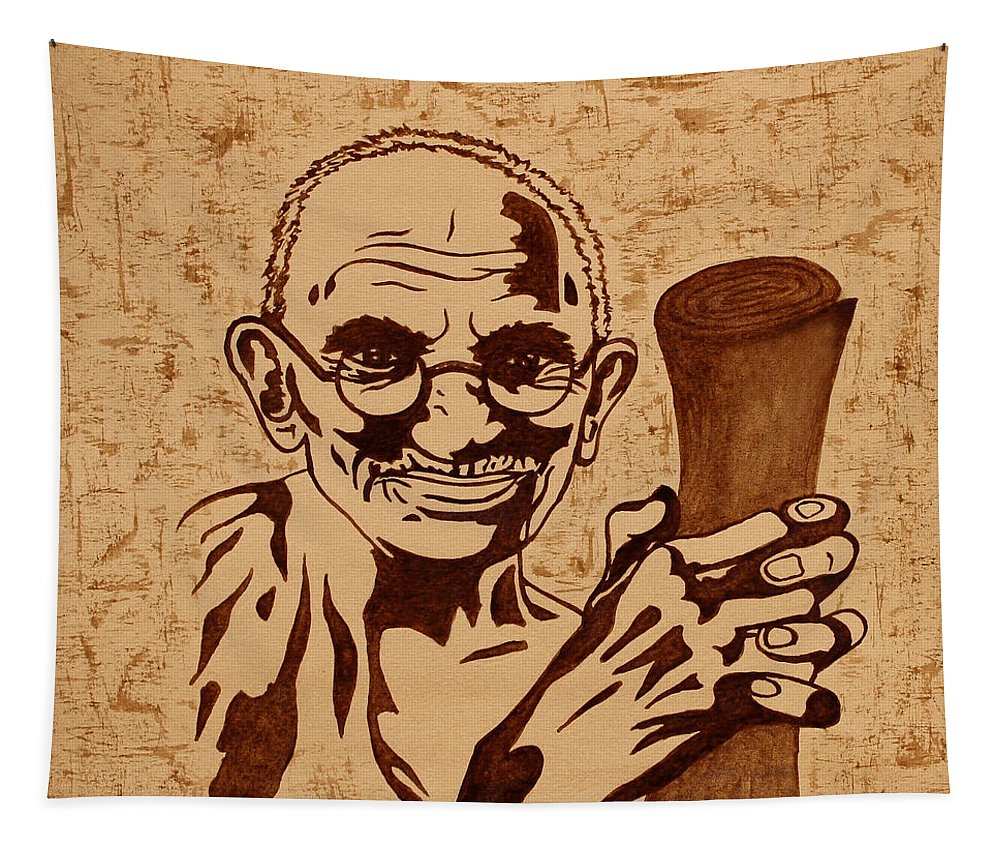 Mahatma Gandhi Tapestry featuring the painting Mahatma Gandhi Coffee Painting by Georgeta Blanaru