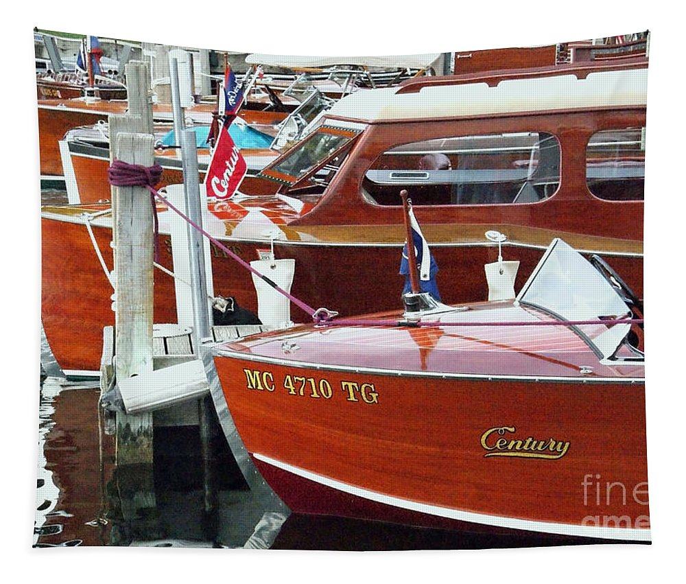 Century Boat Tapestry featuring the photograph Mahogany by Neil Zimmerman