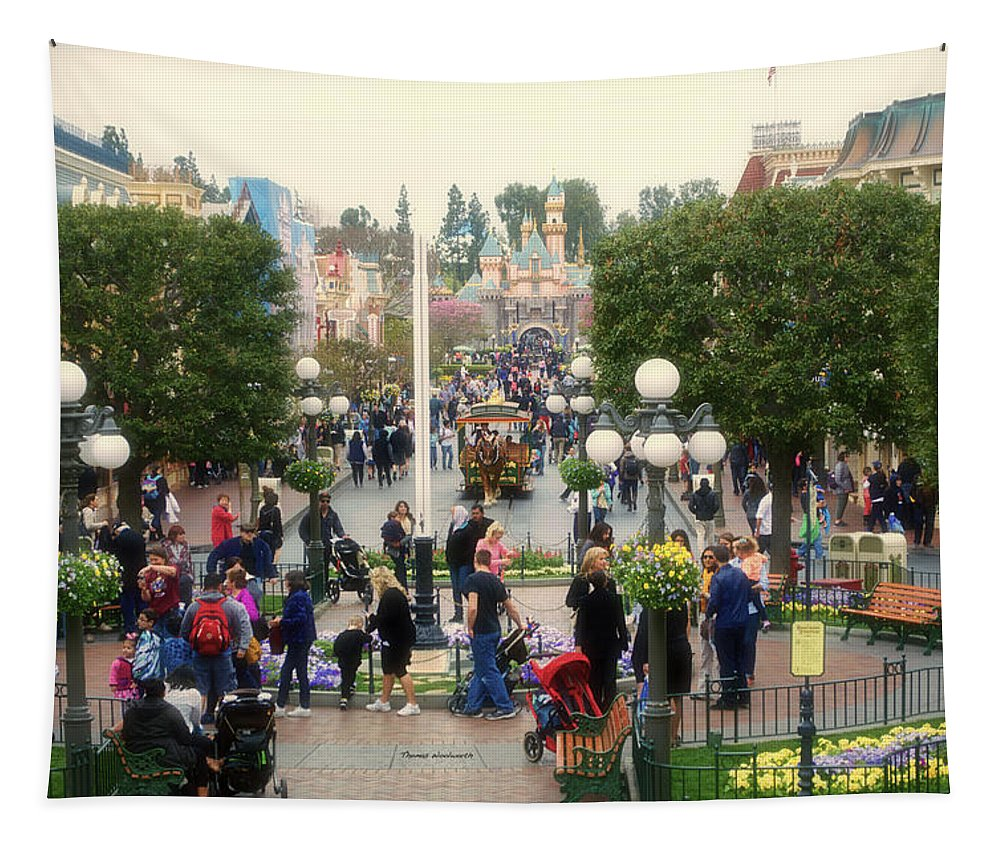 Disney Tapestry featuring the photograph Main Street Disneyland 02 by Thomas Woolworth