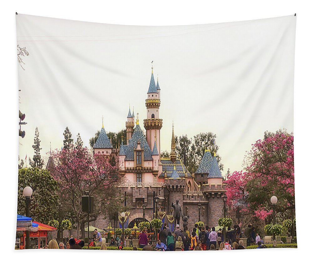 Disney Tapestry featuring the photograph Main Street Sleeping Beauty Castle Disneyland 02 by Thomas Woolworth