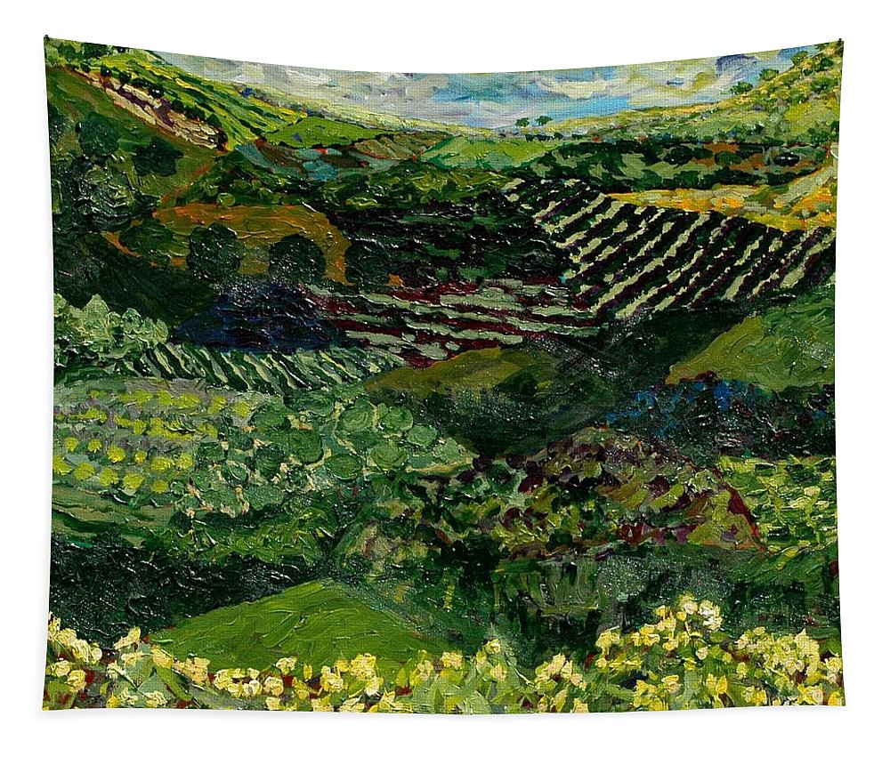 Landscape Tapestry featuring the painting Majestic Valley by Allan P Friedlander