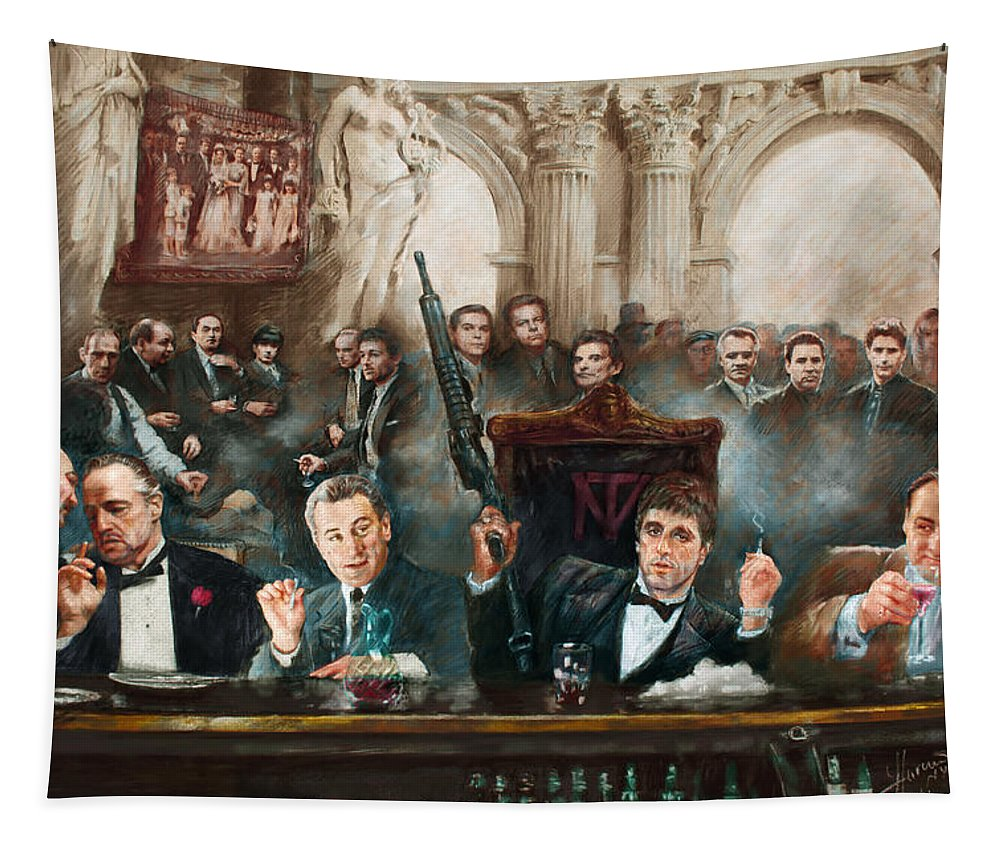 Gangsters Tapestry featuring the mixed media Make Way For The Bad Guys Col by Ylli Haruni