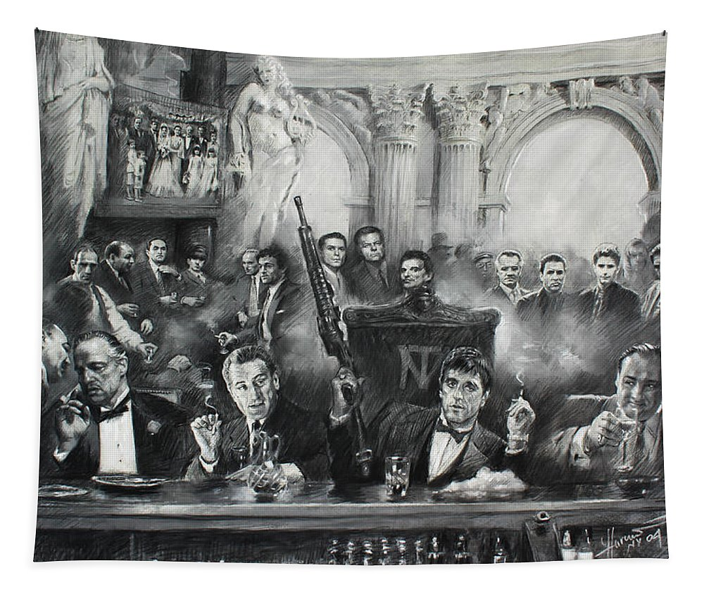 Gangsters Tapestry featuring the drawing Make Way For The Bad Guys by Ylli Haruni