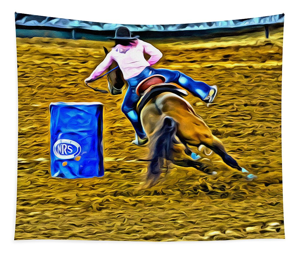 Cowgirl Tapestry featuring the photograph Making The Turn by Alice Gipson