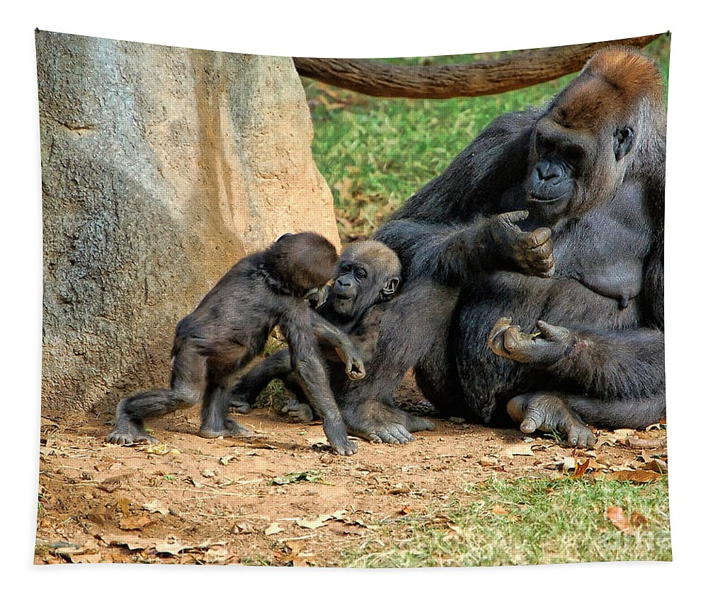 Zoo Tapestry featuring the photograph Mama's Little Babies by Kathleen K Parker