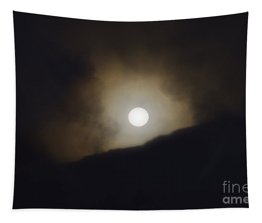 Moon Tapestry featuring the photograph Mammoth Moon Set by Wildlife Fine Art