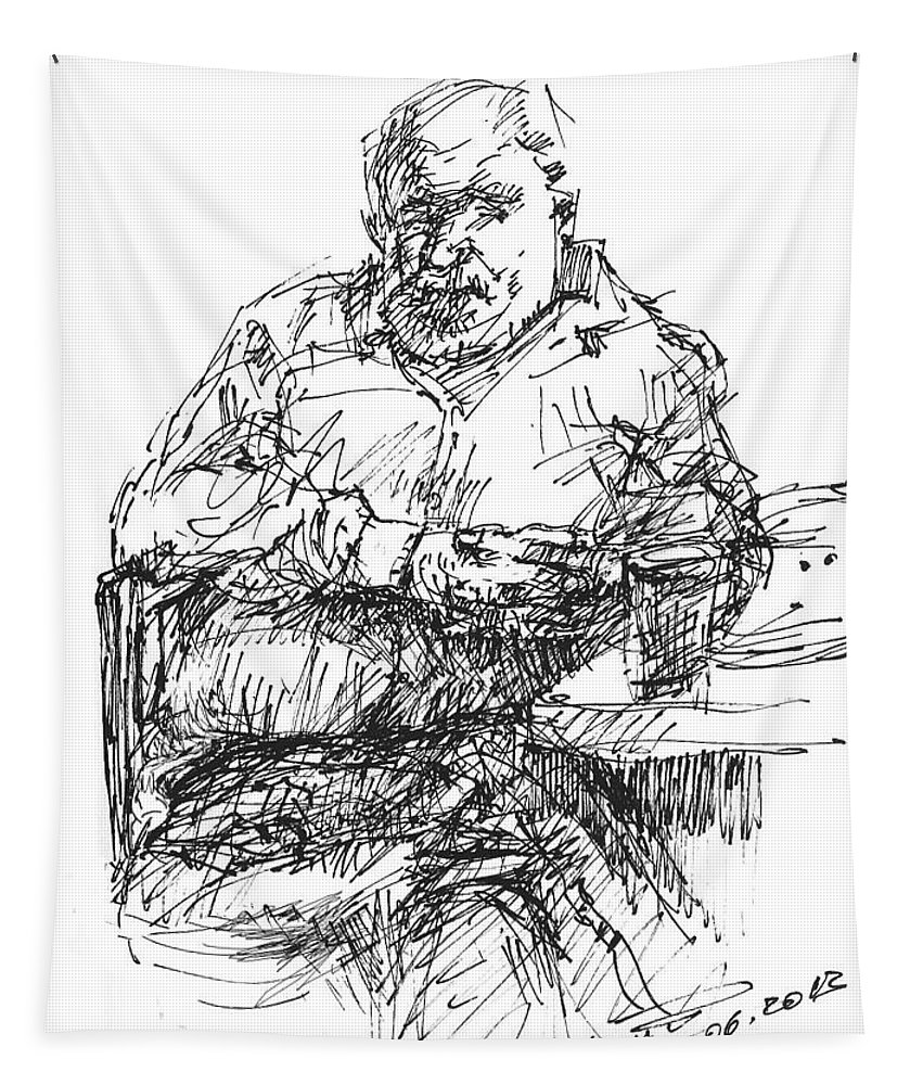 Man At Bar Tapestry featuring the drawing Man At The Bar by Ylli Haruni