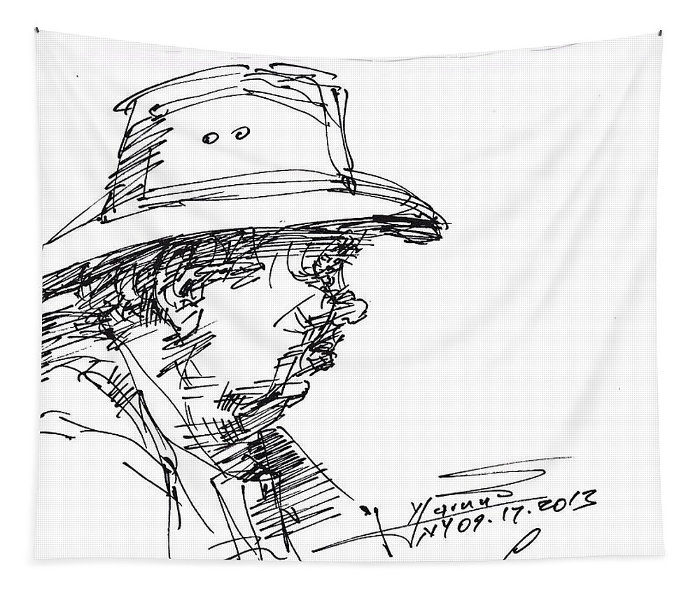 Man In Hat Tapestry featuring the drawing Man With A Hat by Ylli Haruni