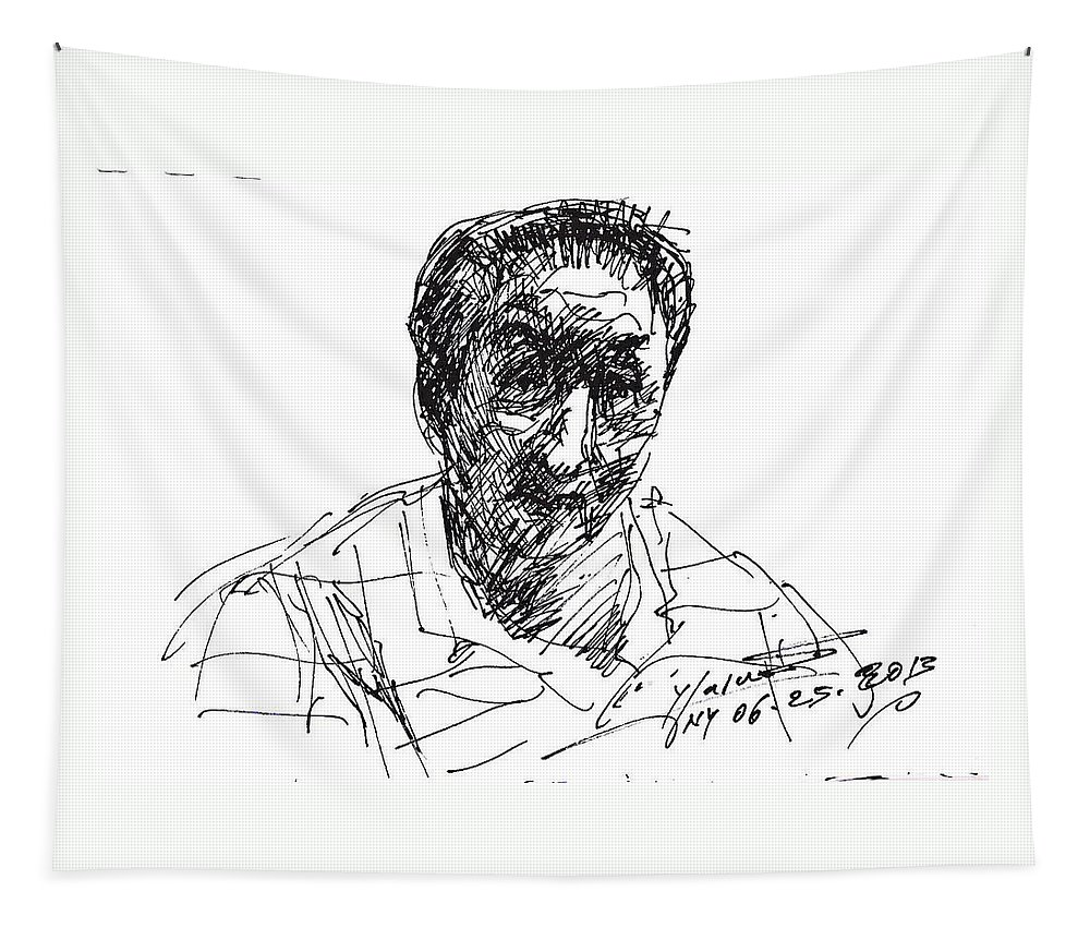 Man Tapestry featuring the drawing man by Ylli Haruni