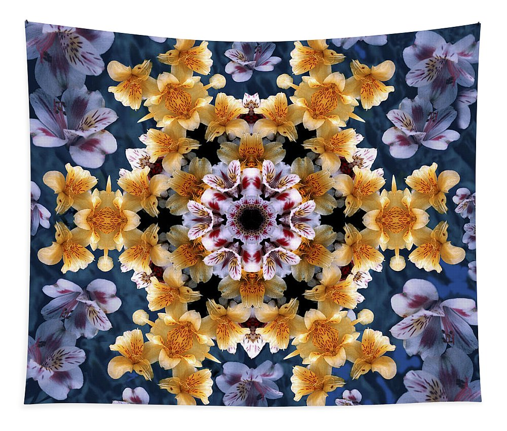 Mandala Tapestry featuring the digital art Mandala Alstro by Nancy Griswold