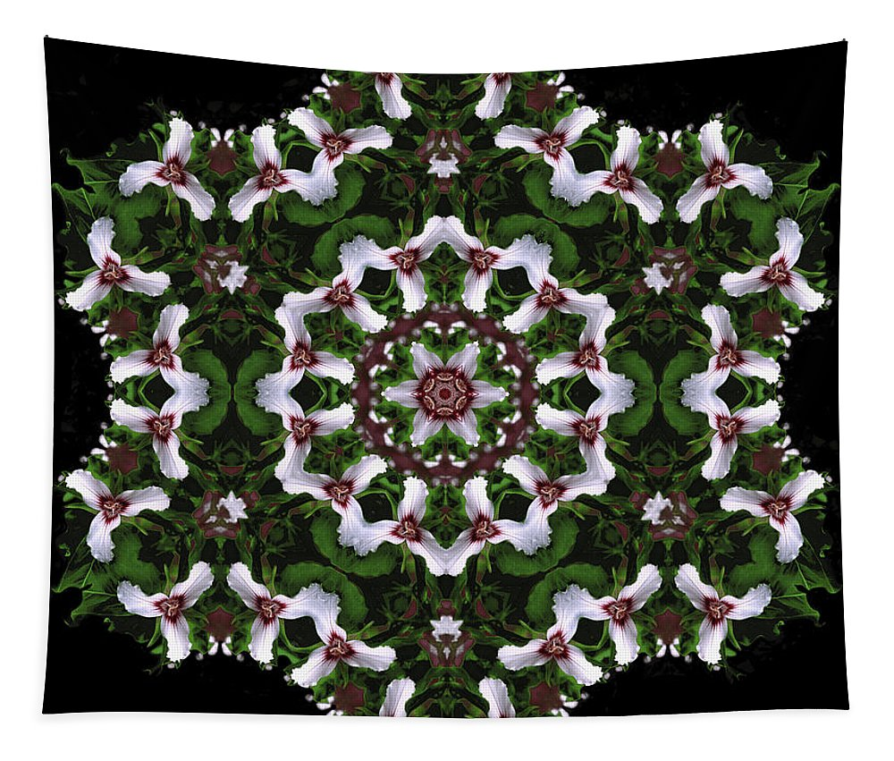 Mandala Tapestry featuring the digital art Mandala Trillium Holiday by Nancy Griswold