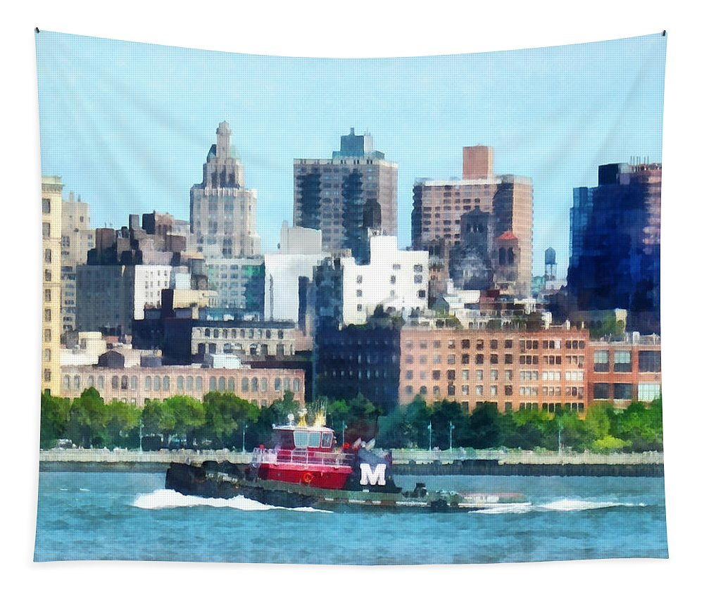 Tugboat Tapestry featuring the photograph Manhattan - Tugboat Against Manhattan Skyline by Susan Savad